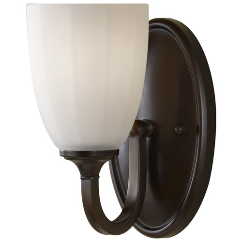Feiss Lighting Modern Sconce Wall Light with White Glass in Heritage Bronze Finish VS17401-HTBZ