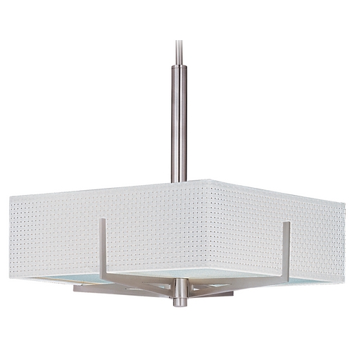 ET2 Lighting Modern Pendant Light with White Shades in Satin Nickel Finish E95445-100SN