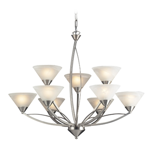 Elk Lighting Modern Chandelier with White Glass in Satin Nickel Finish 7638/6+3