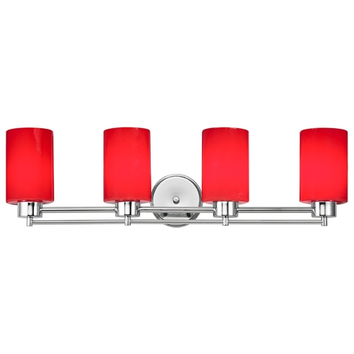 Design Classics Lighting Modern Bathroom Light with Red Glass in Chrome Finish 704-26 GL1008C