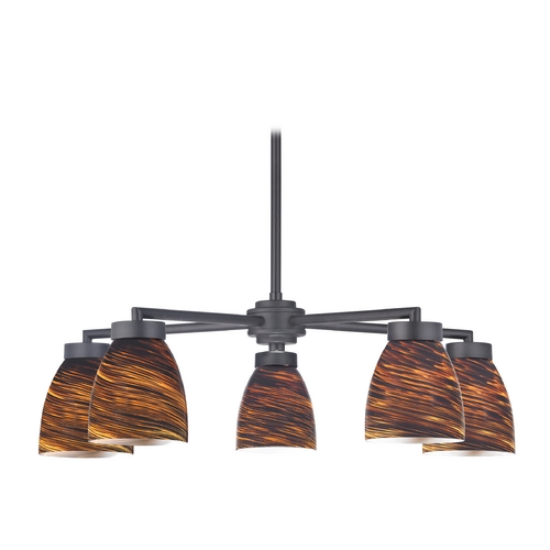 Design Classics Lighting Modern Chandelier with Five Lights and Brown Art Glass in Black Finish 590-07 GL1023MB