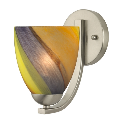 Design Classics Lighting Sconce with Art Glass in Satin Nickel Finish 585-09 GL1015MB