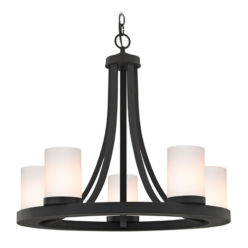 Design Classics Lighting Bronze Chandelier with Gloss White Glass 5-Light 162-78 GL1024C