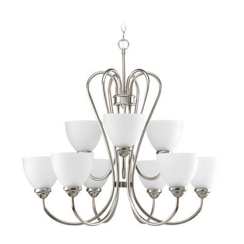 Progress Lighting Progress Chandelier with White Glass in Brushed Nickel Finish P4668-09