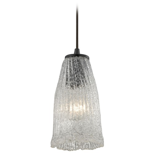 Elk Lighting Elk Lighting Hand Formed Glass Oil Rubbed Bronze Mini-Pendant Light with Bell Shade 10437/1