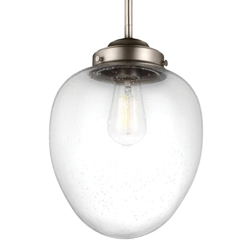 Feiss Lighting Feiss Alcott Satin Nickel Mini-Pendant Light with Oval Shade P1399SN