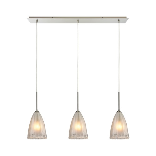 Elk Lighting Elk Lighting Calipsa Satin Nickel Multi-Light Pendant with Bowl / Dome Shade 10449/3LP