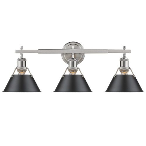 Golden Lighting Golden Lighting Orwell Pw Pewter Bathroom Light 3306-BA3 PW-BLK