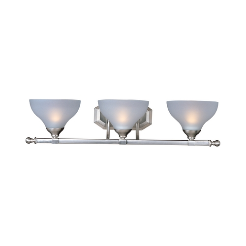 Maxim Lighting Bathroom Light with White Glass in Satin Nickel Finish 21273FTSN