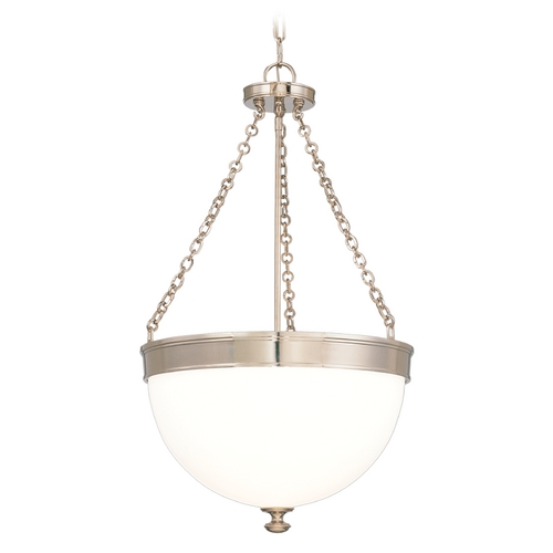 Hudson Valley Lighting Pendant Light with White Glass in Polished Nickel Finish 324-PN