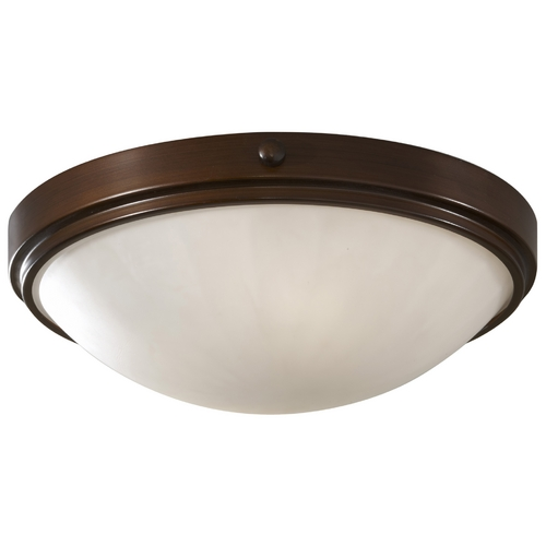 Feiss Lighting Modern Flushmount Light with White Glass in Heritage Bronze Finish FM352HTBZ