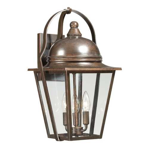 Minka Lavery Outdoor Wall Light with Clear Glass in Architectural Bronze with Copper Highlights Finish 72302-291