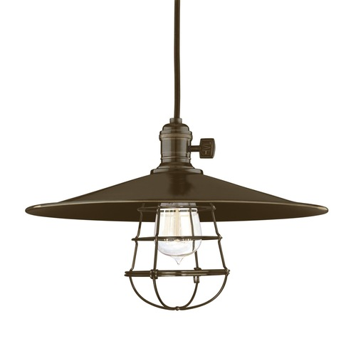 Hudson Valley Lighting Heirloom Old Bronze Pendant Light with Coolie Shade 8002-OB-MM1-WG