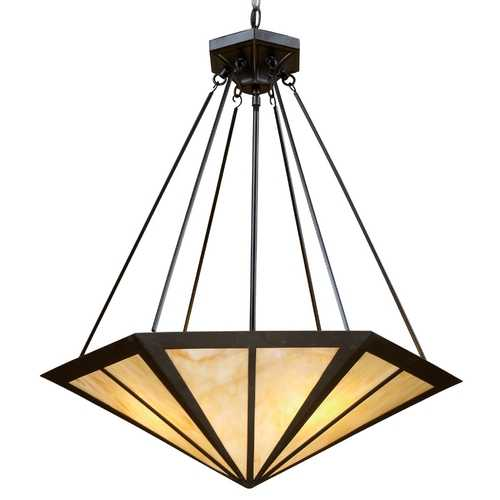 Elk Lighting Pendant Light with Multi-Color Glass in Tiffany Bronze Finish 70107-3