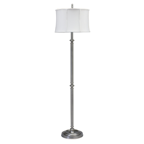 House of Troy Lighting Floor Lamp with White Shade in Antique Silver Finish CH800-AS