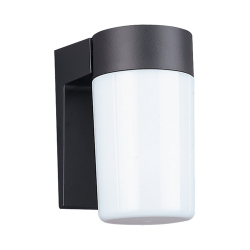 Sea Gull Lighting Modern Outdoor Wall Light with White Shade in Black Finish 8301-12