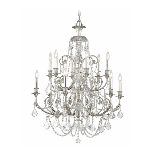Crystorama Lighting Crystal Chandelier in Olde Silver Finish 5119-OS-CL-SAQ