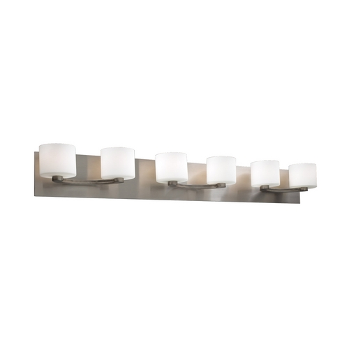 PLC Lighting Modern Bathroom Light with White Glass in Satin Nickel Finish 7616 SN