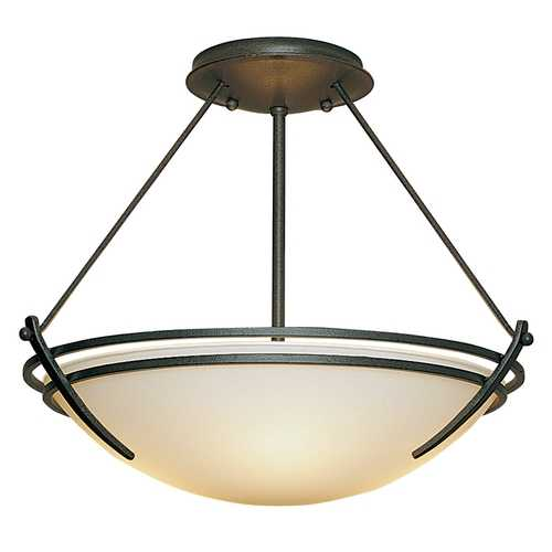 Hubbardton Forge Lighting Transitional Semi-Flushmount Light Iron Presidio Tryne by Hubbardton Forge Lighting 124422-SKT-20-GG0047