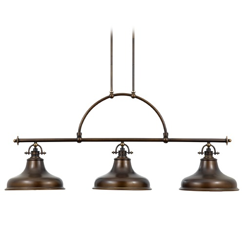 Quoizel Lighting Nautical Island Pendant Light with Three Lights in Bronze Finish ER353PN