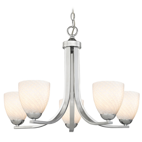 Design Classics Lighting Chrome Chandelier with White Bell Art Glass and Five Lights 584-26 GL1020MB