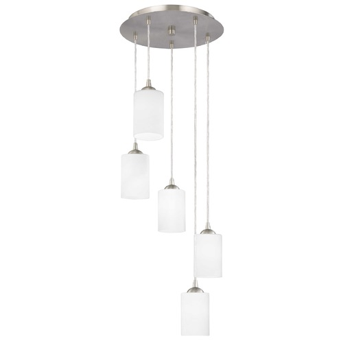 Design Classics Lighting Modern Multi-Light Pendant Light with White Glass and 5-Lights 580-09 GL1028C
