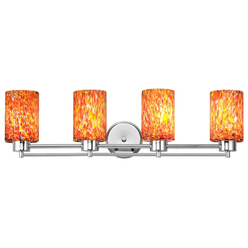 Design Classics Lighting Modern Bathroom Light with Art Glass in Chrome Finish 704-26 GL1012C