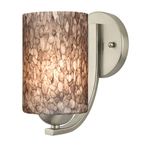 Design Classics Lighting Sconce with Brown Art Glass in Satin Nickel Finish 585-09 GL1016C