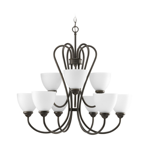 Progress Lighting Progress Chandelier with White Glass in Antique Bronze Finish P4668-20