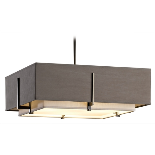 Hubbardton Forge Lighting Hubbardton Forge Lighting Exos Dark Smoke Pendant Light with Square Shade 139630-SKT-STND-07-SESD