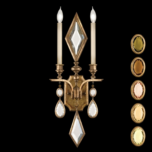 Fine Art Lamps Fine Art Lamps Encased Gems Gold Leaf Sconce 729150-1ST