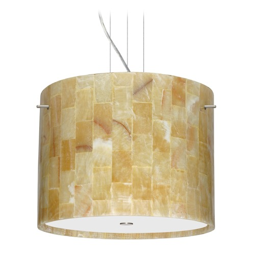 Besa Lighting Besa Lighting Tamburo Satin Nickel LED Pendant Light with Drum Shade 1KV-4007MX-LED-SN