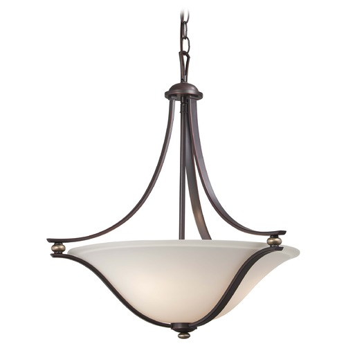 Minka Lavery Minka Shadowglen Lathan Bronze with Gold Pendant Light with Bowl / Dome Shade 3284-589