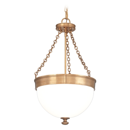 Hudson Valley Lighting Pendant Light with White Glass in Aged Brass Finish 327-AGB