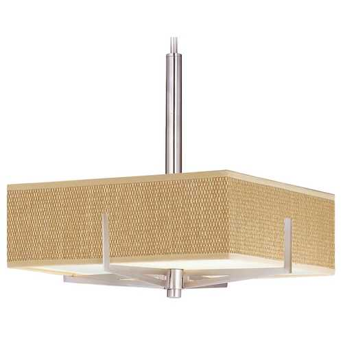ET2 Lighting Modern Pendant Light with Brown Shades in Satin Nickel Finish E95445-101SN