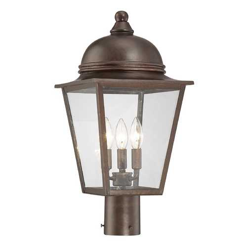 Minka Lavery Post Light with Clear Glass in Architectural Bronze with Copper Highlights Finish 72306-291