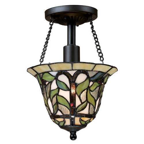 Elk Lighting Tiffany Semi-Flushmount Light in Bronze Finish 70114-1