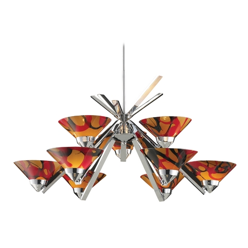 Elk Lighting Modern Chandelier with Amber Glass in Polished Chrome Finish 1476/6+3JAS