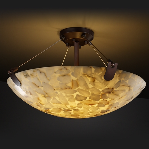 Justice Design Group Justice Design Group Alabaster Rocks! Collection Semi-Flushmount Light ALR-9611-35-DBRZ