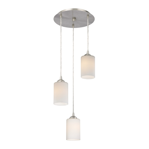 Design Classics Lighting Modern Multi-Light Pendant Light with White Glass and 3-Lights 583-09 GL1028C