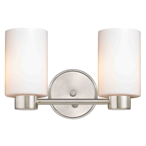 Design Classics Lighting Aon Fuse Modern Satin Nickel Bathroom Light with Cylinder Glass 1802-09 GL1028C