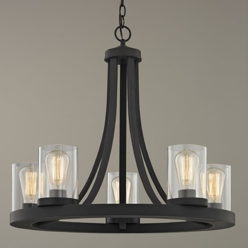 Design Classics Lighting Industrial Chandelier with Clear Glass Bronze 5-Light 162-78 GL1040C