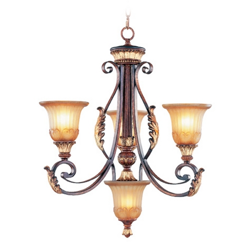 Livex Lighting Livex Lighting Villa Verona Bronze with Aged Gold Leaf Accents Chandeliers with Center Bowl 8574-63