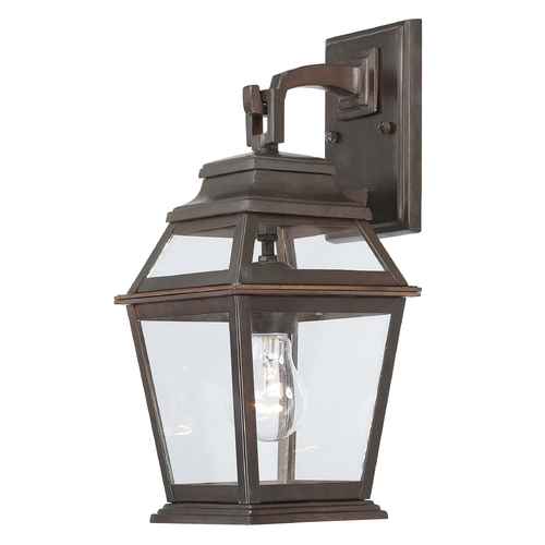 Minka Lavery Outdoor Wall Light with Clear Glass in Architectural Bronze Finish 9281-171