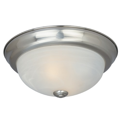 Designers Fountain Lighting Flushmount Light with Alabaster Glass in Satin Platinum Finish 1257L-SP-AL