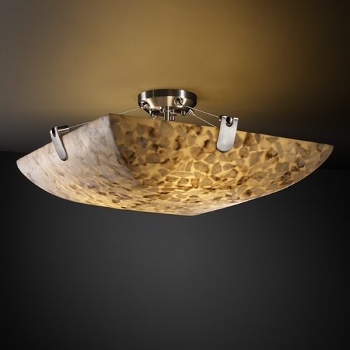 Justice Design Group Justice Design Group Alabaster Rocks! Collection Semi-Flushmount Light ALR-9612-25-NCKL