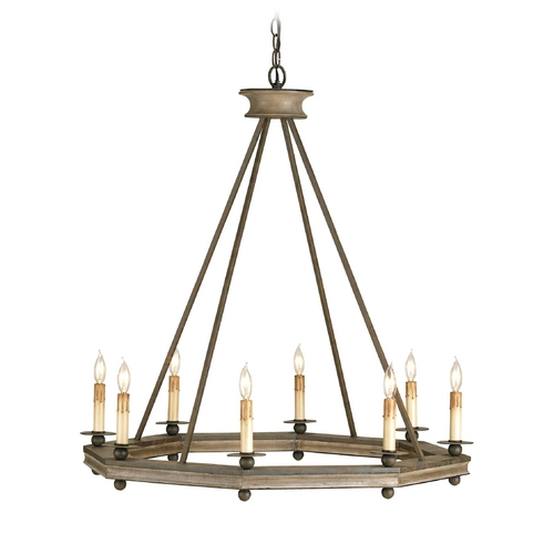 Currey and Company Lighting Modern Chandelier in Antique Rust/washed Wood Finish 9799