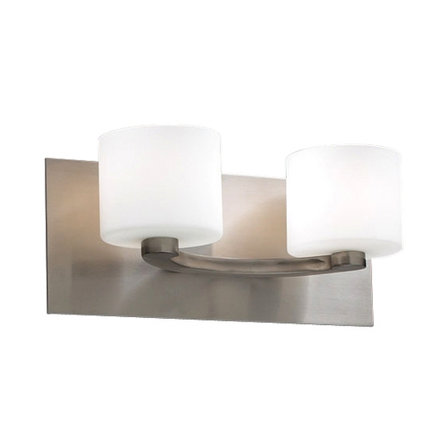 PLC Lighting Modern Bathroom Light with White Glass in Satin Nickel Finish 7612 SN