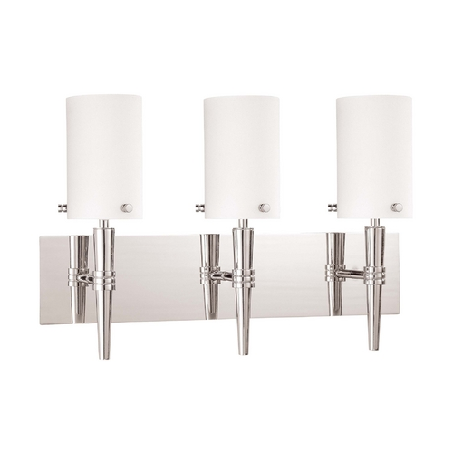 Nuvo Lighting Modern Bathroom Light with White Glass in Polished Chrome Finish 60/3868