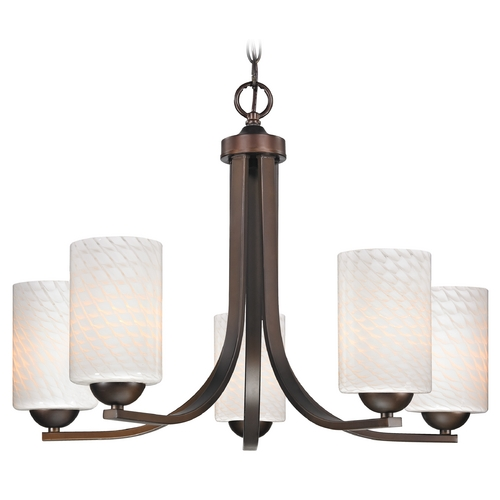 Design Classics Lighting Bronze Chandelier with White Art Glass Shades and Five Lights 584-220 GL1020C